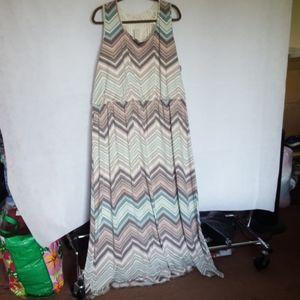 Maurice's Multi Maxi Dress Lace Back, Size 4
